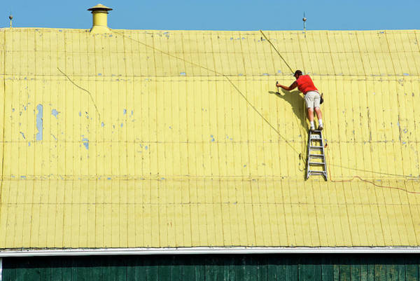 Yellow Barn Roof Workers-7 Art Print