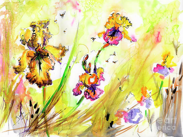 Painting - Yellow Bearded Irises And Bees Watercolor Print by Ginette Callaway