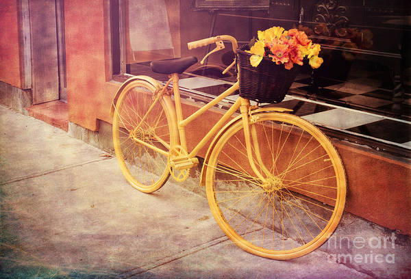 Photograph - Yellow Bicycle With Flowers - V1 by Les Palenik