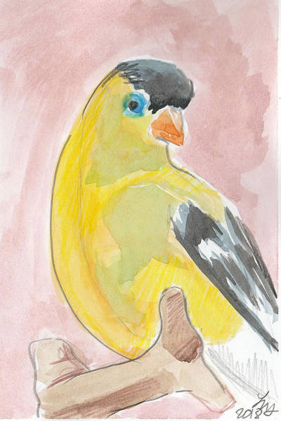 Painting - Yellow Bird 56 by Loretta Nash