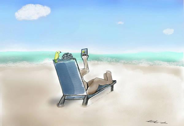 Art Print featuring the digital art Yellow Bird Beach Selfie by Teresa Epps