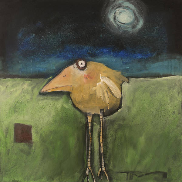 Wall Art - Painting - Yellow Bird In Moonlight by Tim Nyberg