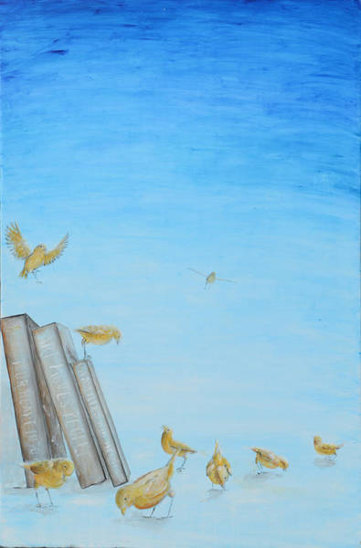 Canaries Painting - Yellow Birds In The Blue3 by Nik Helbig