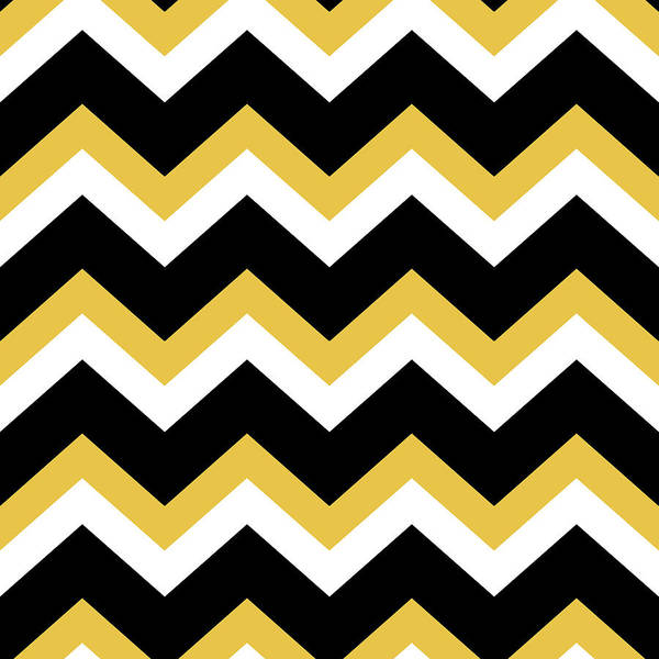 Mixed Media - Yellow And Black Chevron Pattern by Christina Rollo