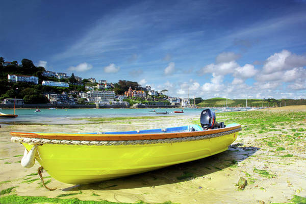 Photograph - Yellow Boat, At Low Tide At Salcombe Estuary, Devon, Uk by Maggie McCall
