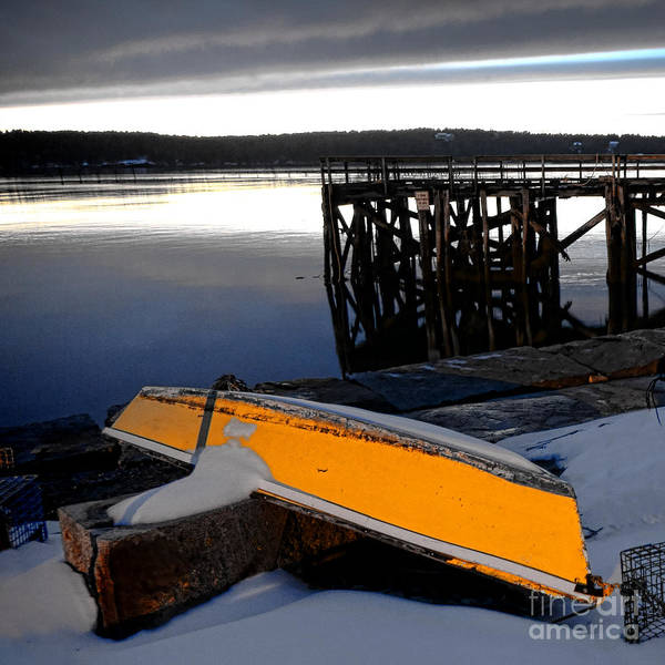 Wall Art - Photograph - Yellow Boat In Winter  by Olivier Le Queinec