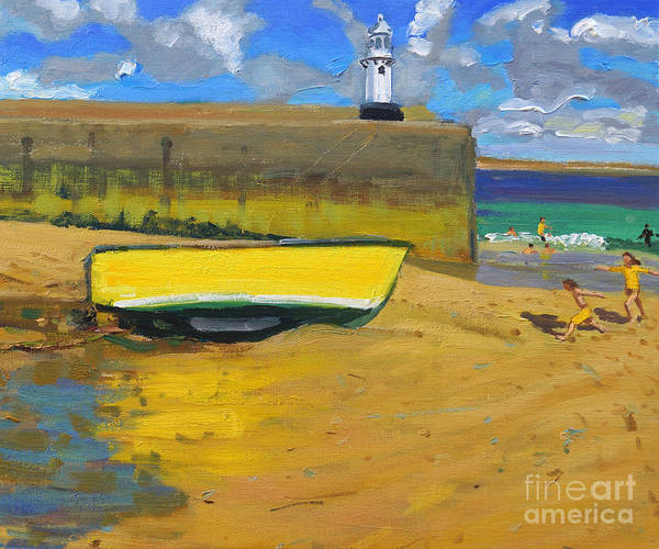 Wall Art - Painting - Yellow Boat, St Ives  by Andrew Macara