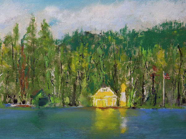 Pastel - Yellow Boathouse On The Pond by David Patterson