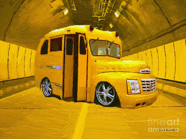 Mixed Media - Yellow Bus by Jerry L Barrett