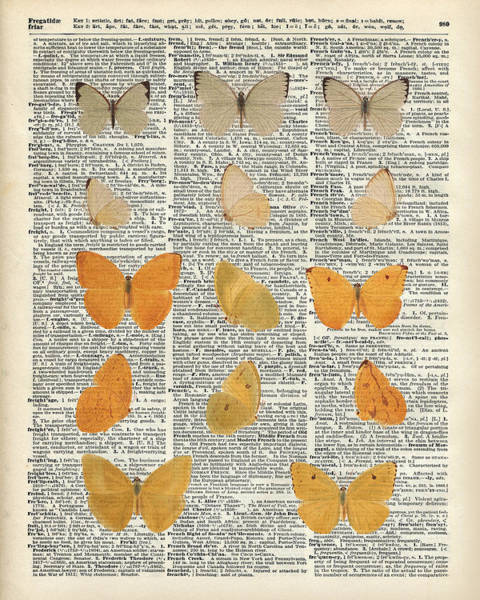 Wall Art - Drawing - Yellow Butterflies Over Dictionary Book Page by Anna W