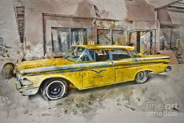 American Car Mixed Media - Yellow Cab by Ian Mitchell