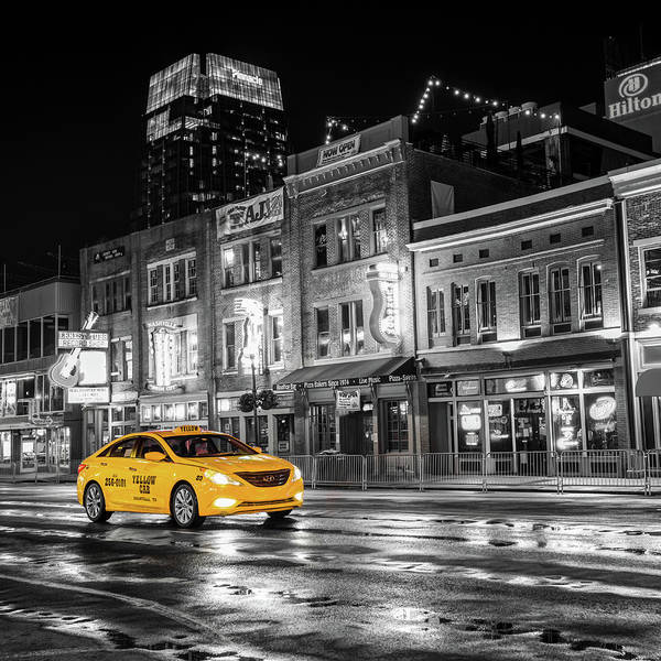 Photograph - Yellow Cab - Nashville Black And White by Gregory Ballos