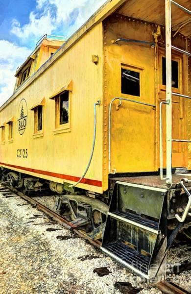 Wall Art - Photograph - Yellow Caboose by Mel Steinhauer