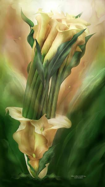 Mixed Media - Yellow Callas In Calla Vase by Carol Cavalaris