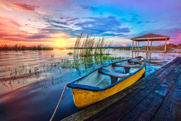 Canoe Photograph - Yellow Canoe by Debra and Dave Vanderlaan