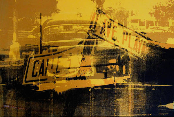 Street Sign Photograph - Yellow Car And Street Sign by David Studwell