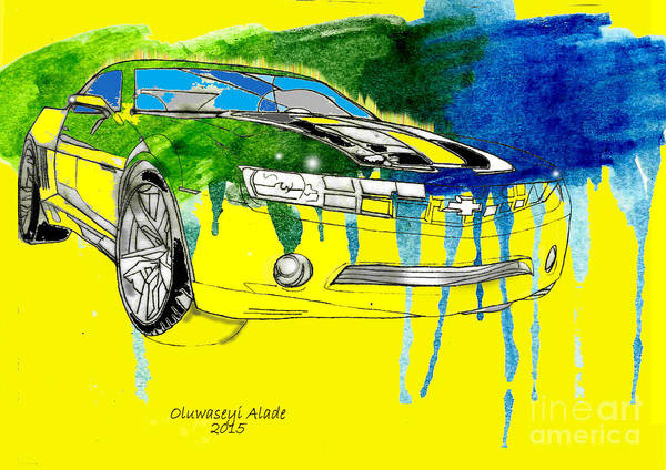 Car Drawings Mixed Media - Yellow Cavarro Transformers by Oluwaseyi Alade