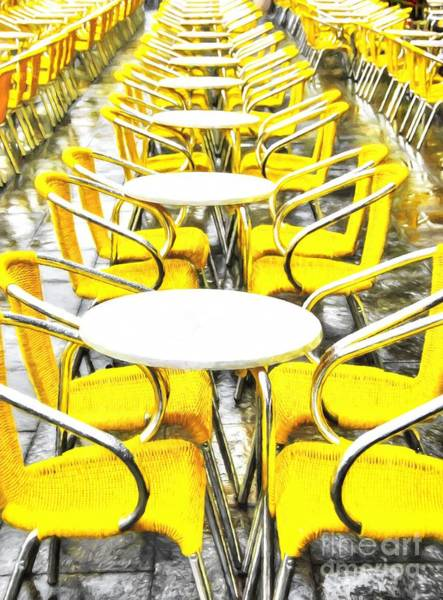 Photograph - Yellow Chairs In Venice # 2 by Mel Steinhauer