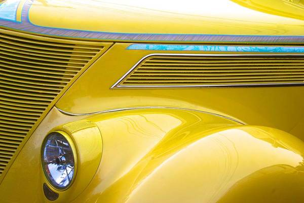 Photograph - Yellow Classic Car Contours by Polly Castor