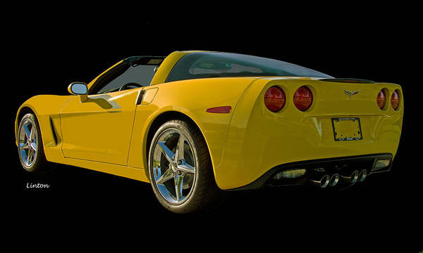 Photograph - Yellow Corvette by Larry Linton