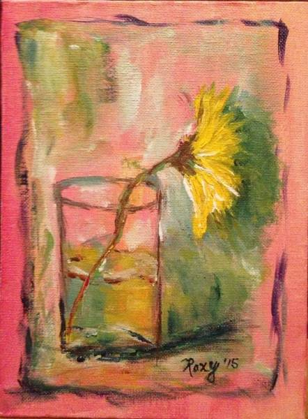 Still Life Painting - Yellow Daisy In A Glass by Roxy Rich