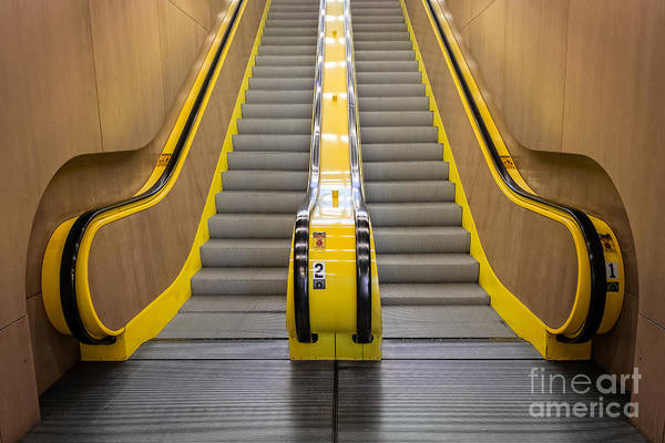 Photograph - Yellow Escalator Leading Up by Bryan Mullennix