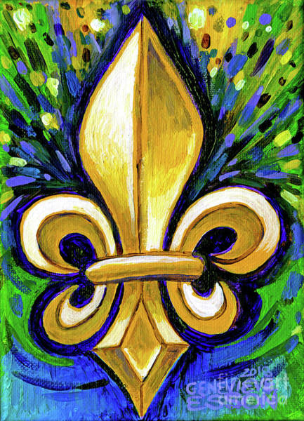Wall Art - Painting - Yellow Fleur De Lis by Genevieve Esson
