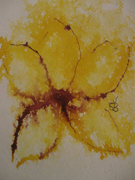 Drawing - Yellow Flower by AJ Brown