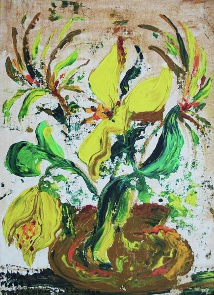 Leclair Painting - Yellow Flowers And Brown Pot by Suzanne  Marie Leclair