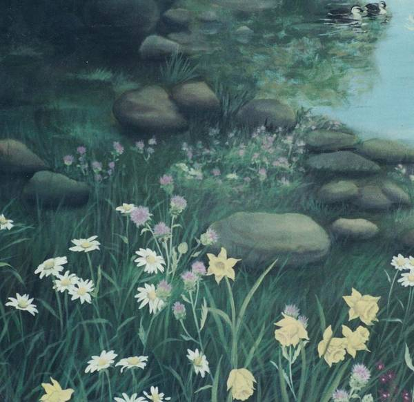 Painting - Yellow Flowers In Bed Of Rocks by Suzn Smith