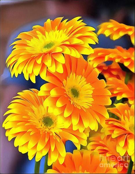 Yellow Flowers In Thick Paint Art Print