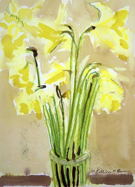 Painting - Yellow Flowers In Vase by Kathleen Barnes