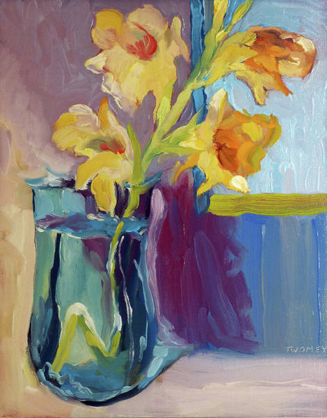 Gladiolus Painting - Yellow Glads 4.0 by Catherine Twomey