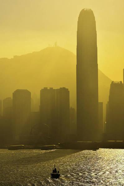 Hongkong Photograph - Yellow Glow Of Victoria Harbour, Hong Kong by Luke Finch