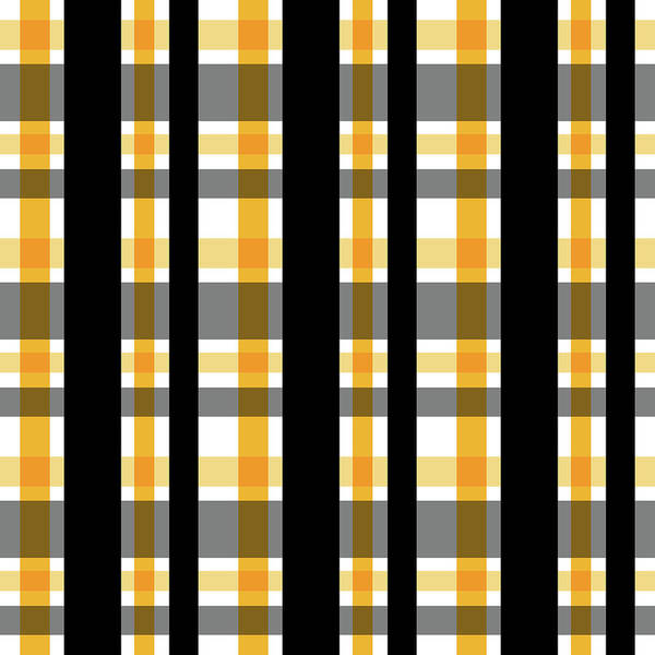 Photograph - Yellow Gold And Black Plaid Striped Pattern Vrsn 1 by Shelley Neff