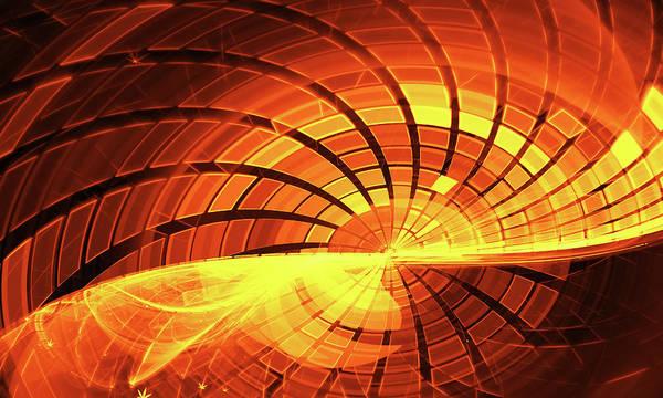 Aspect Digital Art - Yellow Grid Wave Fractal Dark Background by Oksana Ariskina