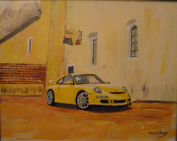 Painting - Yellow Gt3 Porsche by Richard Le Page