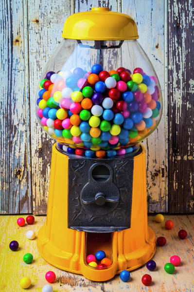 Paint Chips Photograph - Yellow Gumball Machine by Garry Gay