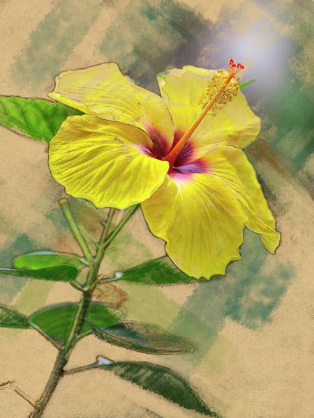 Digital Art - Yellow Hibiscus by Mark Mille