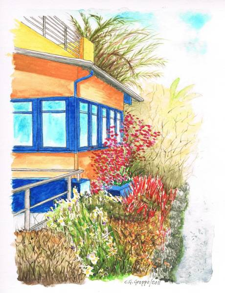 Acuarela Painting - Yellow House In Venice Beach - California by Carlos G Groppa