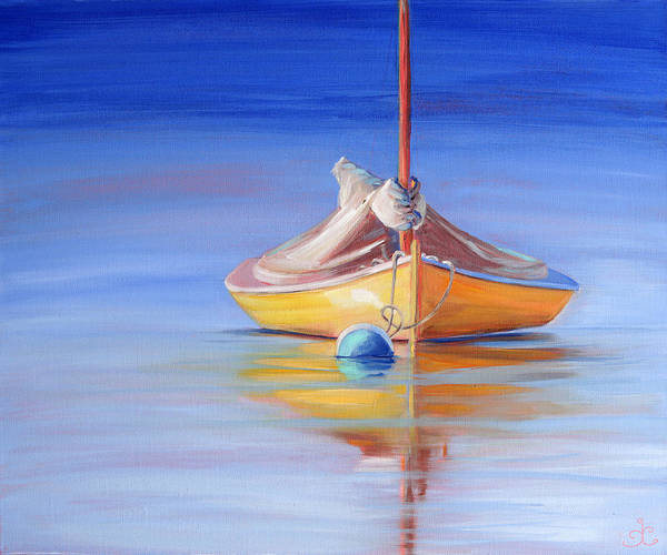 Painting - Yellow Hull Sailboat Iv by Trina Teele