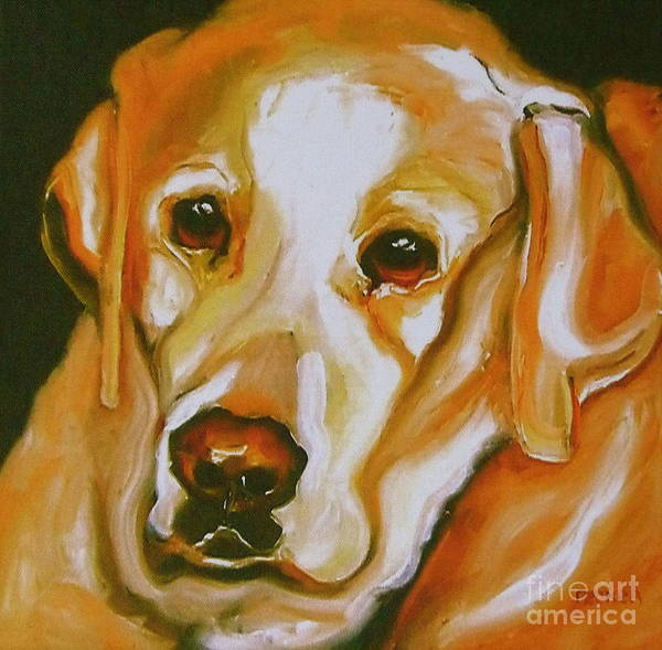 Wall Art - Painting - Yellow Lab Amazing Grace by Susan A Becker