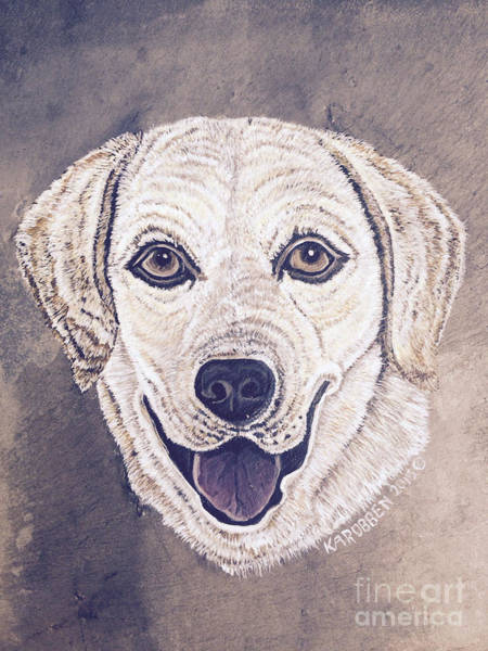 Yellow Lab Mixed Media - Yellow Lab On Slate by Kimberly Robben