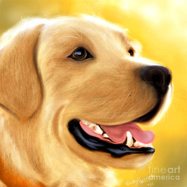 Painting - Yellow Lab Portrait by Becky Herrera