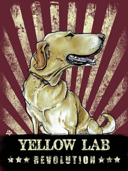 Drawing - Yellow Lab Revolution by John LaFree