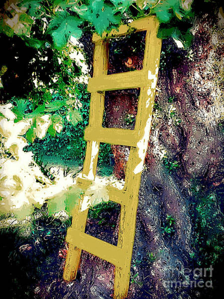 Park Bench Mixed Media - Yellow Ladder On Olive by Jon Fennel