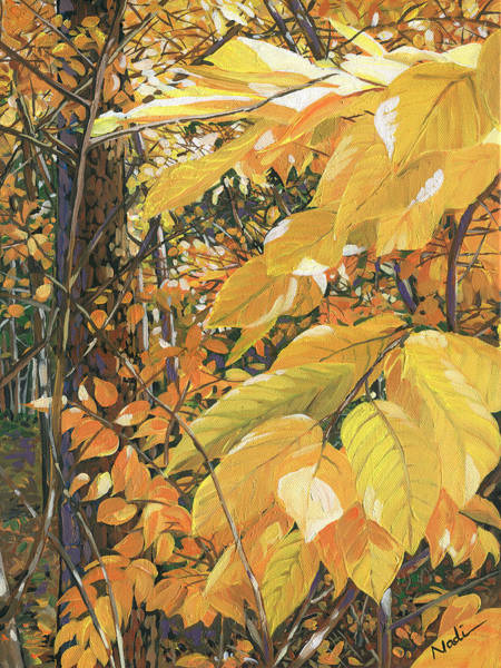 Persimmon Painting - Yellow Leaves by Nadi Spencer