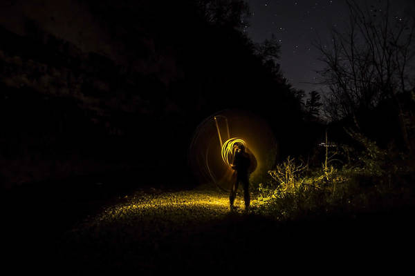 Photograph - Yellow Light Painting Under The Stars  by Sven Brogren