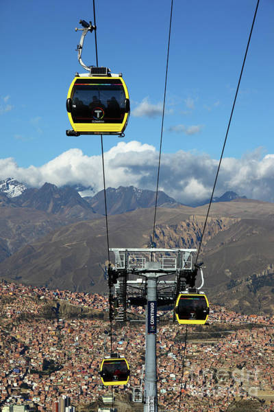 Photograph - Yellow Line Cable Cars And Andes Mountains Bolivia by James Brunker