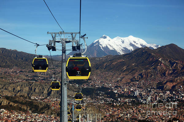 Photograph - Yellow Line Cable Cars And Mt Illimani La Paz Bolivia by James Brunker